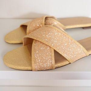 J.Crew Slides Glitter Cora Sandals Glitter 10.5